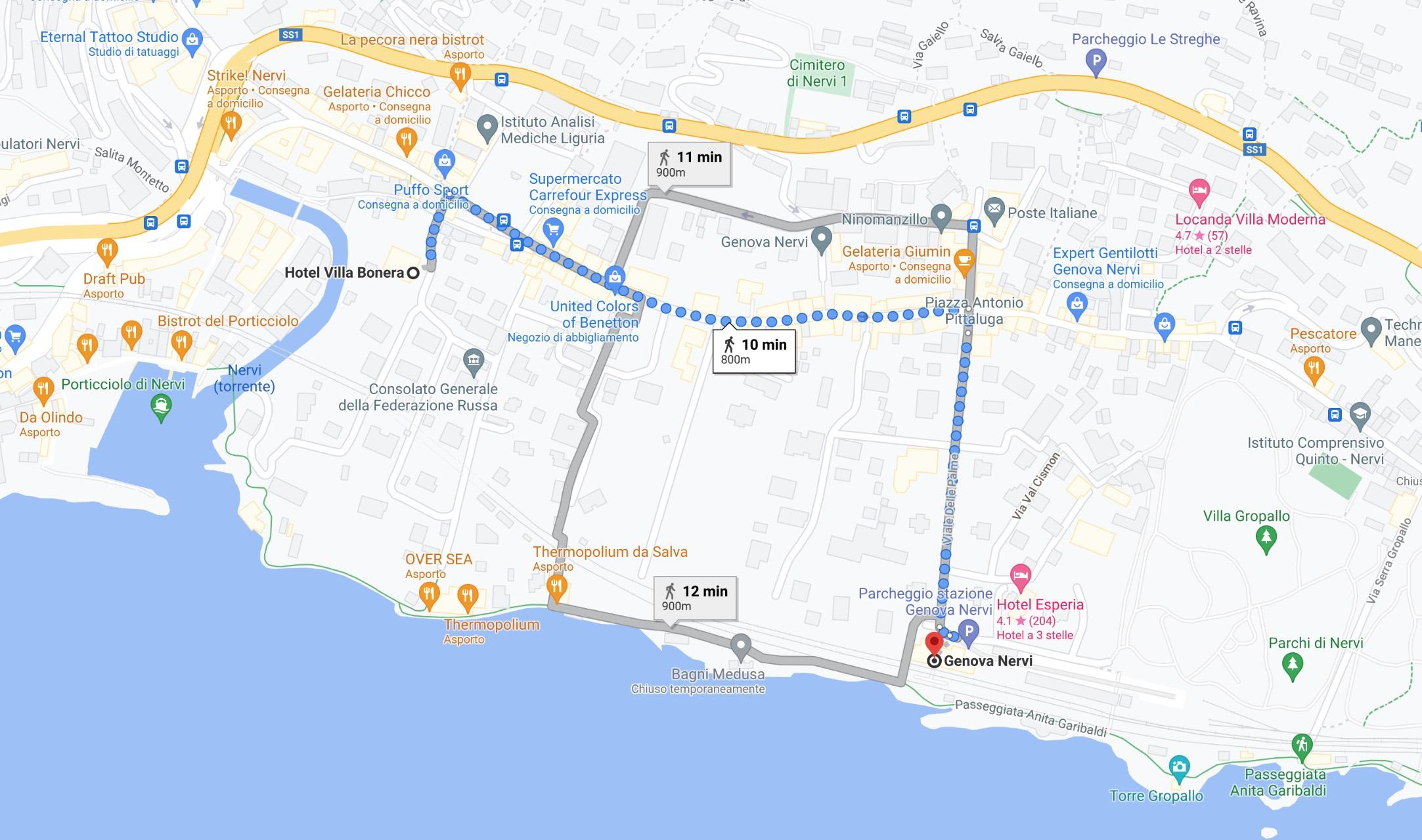 Hotel Villa Bonera a Genova Nervi vicino alla stazione
